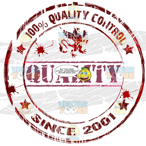 Quality Below Griffin With 100 Percent Quality Control Typed Inside Circle With Spotted Ink Splashings And Stars In Red Distressed Rubber Ink Stamp