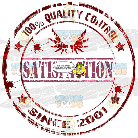 Wings Above The Word Satisfaction 100 Percent Quality Control In Circle With Ink Splats And Stars Dark Red Grungy Rubber Ink Stamp