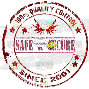 Words Safe Secure Below Bird Wings With 100 Percent Quality Control Typed Around Circle With Random Ink Splatter Drops And Stars All Done In Deep Red Rough Rubber Ink Stamp