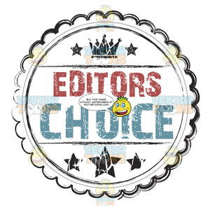 Editor'S Choice Rustic Grunge Seal With Crown And Stars With Scalloped Border