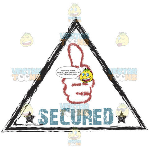Secured Thumbs Up Hand Fist Graphic Inside Triangle Damaged Colored Ink Rubber Stamp