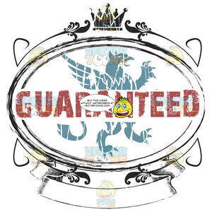 Guaranteed Word In Red In Front Of Blue Griffin Graphic Enclosed In Ornate Oval Frame Damaged Rubber Ink Stamp