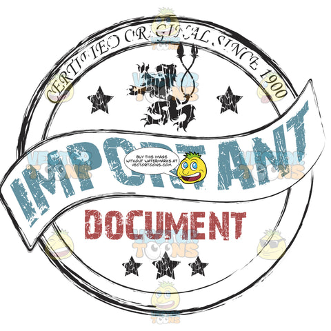 Important Document In Scroll Ribbon With Black Old Lion With Stars Inside Circle Grungy Rubber Ink Stamp