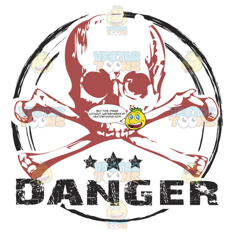 Red Skull And Crossbones Jolly Roger Above Three Stars And The Word Danger Inside Circle Distressed Rubber Ink Stamp