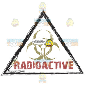 Biohazard Waste Warning Symbol Above Radioactive In Red In Triangle Distressed Ink Rubber Stamp