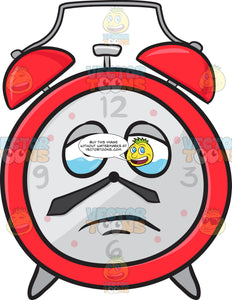 Sad Looking Alarm Clock About To Cry Emoji