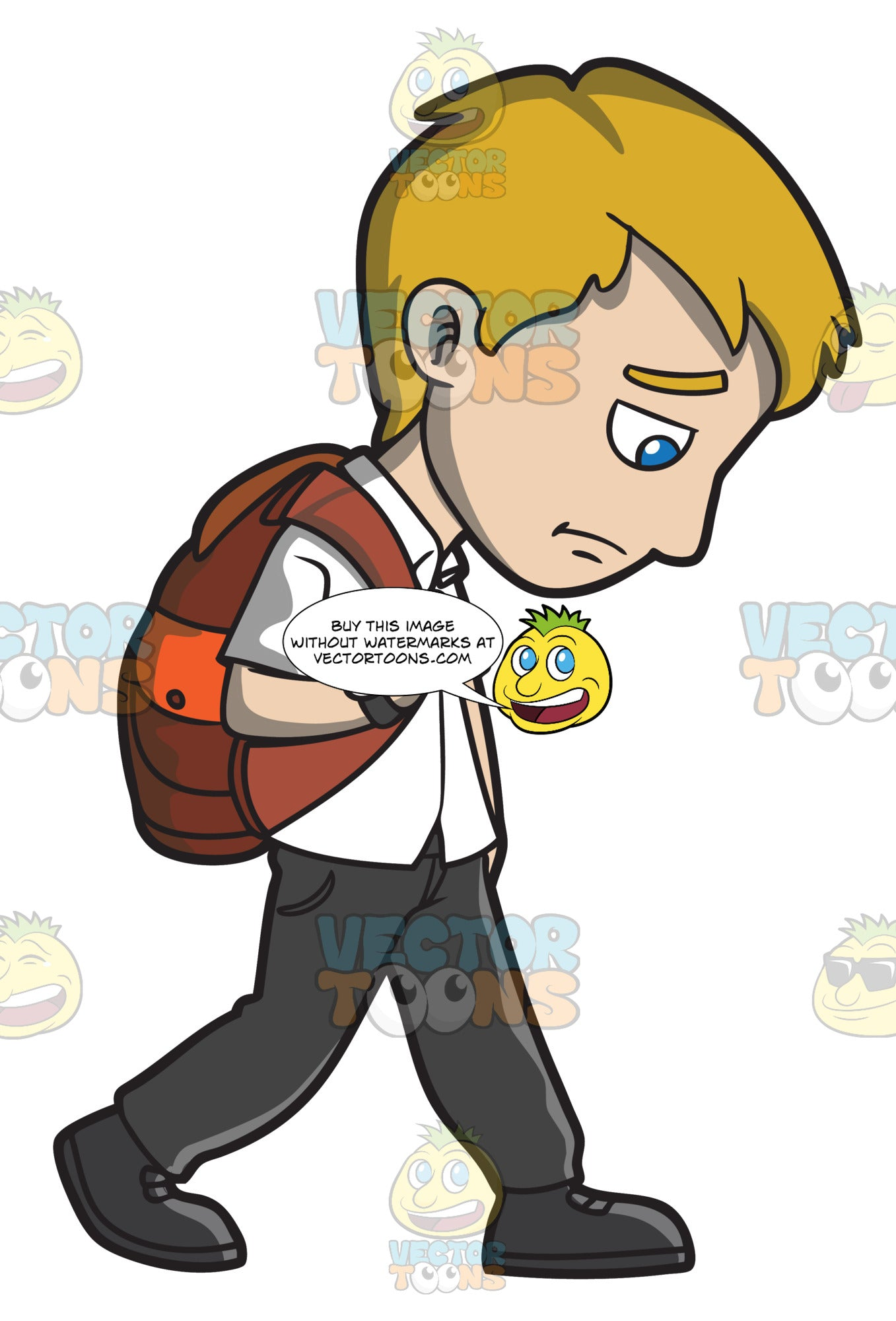 A sad young man walking home from work clipart cartoons by vectortoons