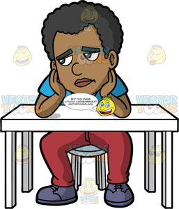 Jimmy Looking Sad And Lonely. A black man wearing wine colored pants, and a blue t-shirt, sitting on a stool behind a white table, with his elbows resting on the table and his hands on his face, looking off into the distance with a sad look on his face