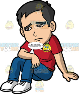 Kevin Sitting And Looking Upset About Something. An Asian man wearing dark blue pants, a red t-shirt, and white shoes, sitting on the ground resting one hand on his knee and the other on the ground, looking very sad and gloomy