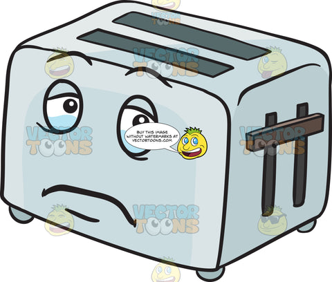 Sad Pop Up Toaster Looming With Tears Emoji