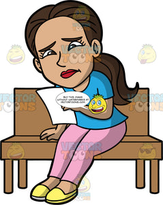 Isabella Reading An Upsetting Letter. A Hispanic woman with dark brown hair, wearing light pink pants, a blue shirt, and yellow shoes, sitting on a bench reading a letter that is making her very sad