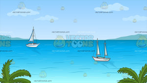 Sailboats Anchored Off The Shore Background