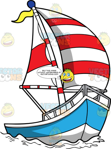 A Blue and White Sailboat with Red and White Sails. A modern white and blue sailboat with gray rails, two striped red and white sails, a tall pole and a yellow flag that is floating in the middle of the sea