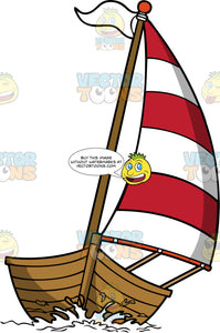 Wooden Sailboat With A Red and White Sail. A wooden brown boat with a nice striped red and white sail, brown pole, white flag, sailing the sea
