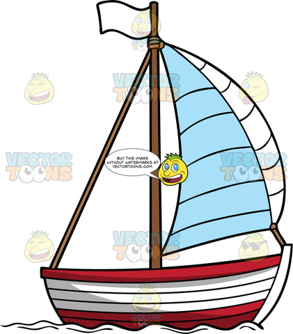 Simple Classic Sailboat. A red with white wooden boat with a white sail, brown pole that has a white flag, sailing the sea