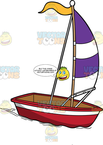 Simple And Small Sailboat. A simple red with white boat, and a small white with purple sail, connected to a wooden pole that has a yellow flag
