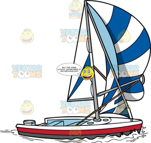 Modern Sailboat With Blue And White Sails. A classy modern boat with white, red and dark gray paint, huge striped blue and white sails