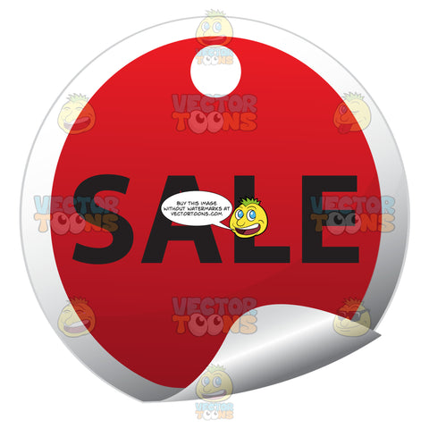 Red Round Sale Tag Sticker With Bent Edge