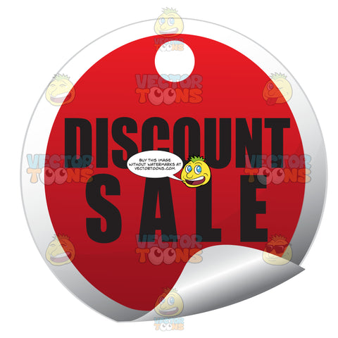 Discount Sale Circle Red Sale Price Tag Sticker With Curled Edge