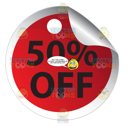 50 Percent Off Round Red Sale Price Tag Sticker With Curled Edge