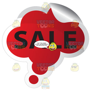 Sale Red Bubble Shaped Sticker With Folded Edge