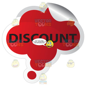 Discount Red Bubble Shaped Sticker With Bent Edge