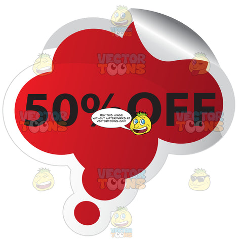 50 Percent Off Red Bubble Cloud Shaped Sticker With Rolled Edge