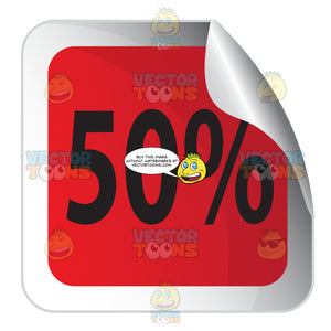 50 Percent Red Square Sale Sticker With Rolled Corner