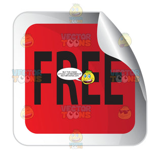 Free Red Square Sale Sticker With Folded Corner