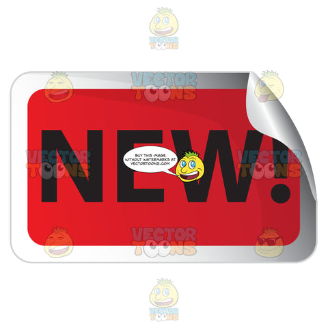 New! Red Rectangle Sale Sticker With Rolled Top Right Corner