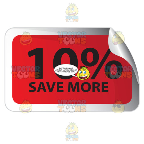 10 Percent Save More Red Rectangle Sale Sticker With Rolled Top Right Corner