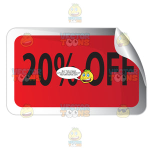 20 Percent Off Red Rectangle Sale Sticker With Rolled Top Right Corner