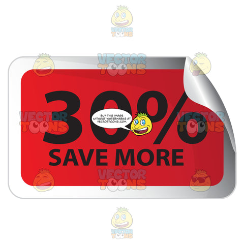 30 Percent Save More Red Rectangle Sale Sticker With Rolled Top Right Corner