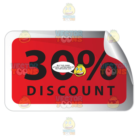 30 Percent Discount Red Rectangle Sale Sticker With Curled Top Right Corner