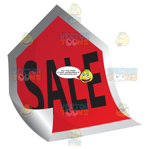 Sale Red Curled Up Sticky Tag