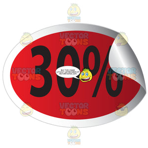 30 Percent Off Red Sale Tag Oval Sticker With Curled Edge