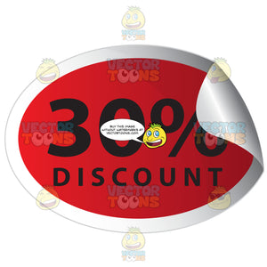 30 Percent Discount Red Sale Tag Oval Sticker With Curled Edge