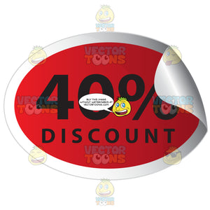 40 Percent Discount Red Sale Tag Oval Sticker With Curled Edge