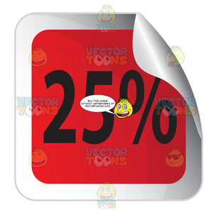 25 Percent Red Square Sticky Tag With Curled Corner