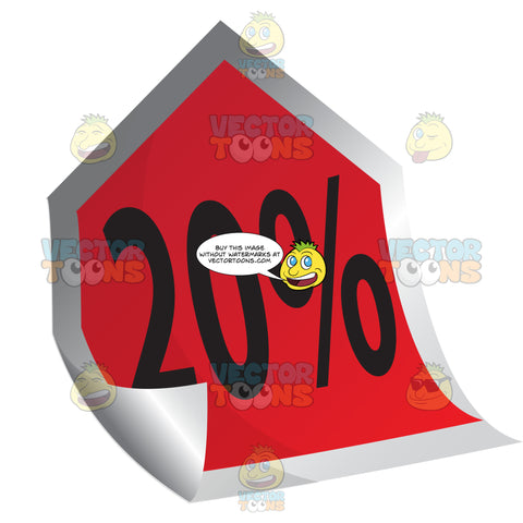 20 Percent Sticky Tag In Red With Curled Corner