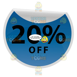 20 Percent Off Round Blue Sale Price Tag With Curled Edge
