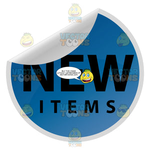 New Items Blue Folded Over Web 2.0 Sticker Label
