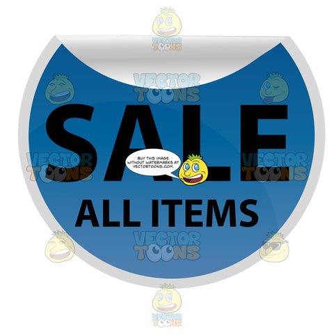 Sale All Items Round Promo Sticker In Blue Curling On Top Edge