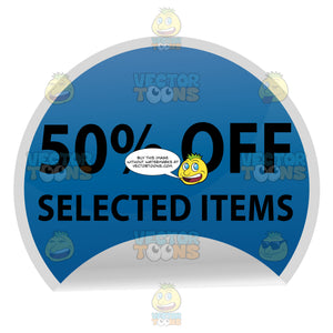 50 Percent Off Selected Items Web Store Promo Sticker Circle In Blue With Folded Edge 3-D