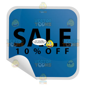 Sale 10 Percent Off Square Blue Sticker Label With Folded Edge