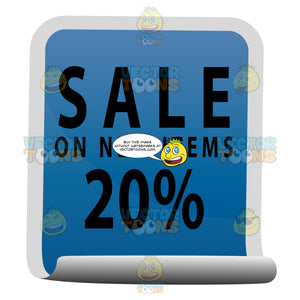 Sale In All Caps On New Items 20 Percent Blue Square Sticker With Rolled Up Bottom