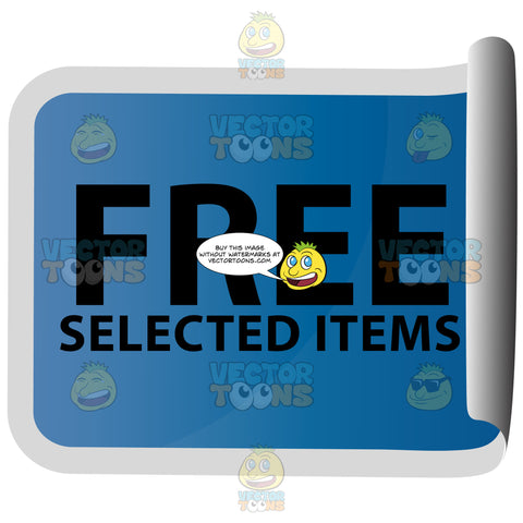 Free Selected Items Blue Rectangle Sticky With Rolled Side