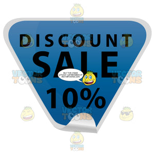 Discount Sale 10 Percent Blue Triangle Sticker With Curled Tip