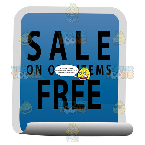 Sale On Old Items Free Curled Blue Sticky Tag