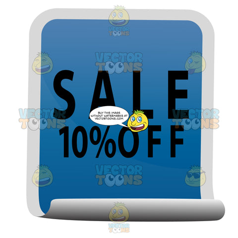 Sale 10 Percent Off Blue Rectangle Sticker With Curled Bottom Edge